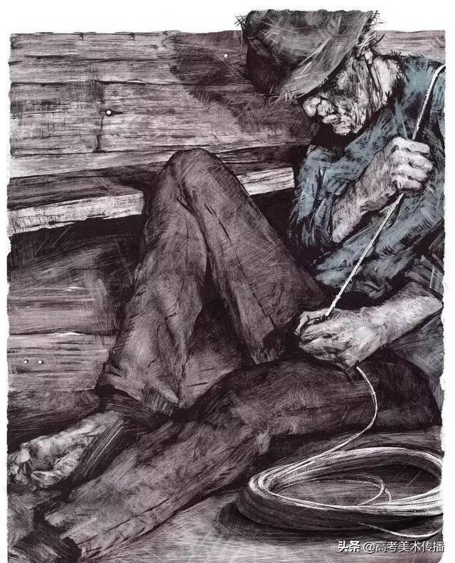老人与海手抄报简笔画