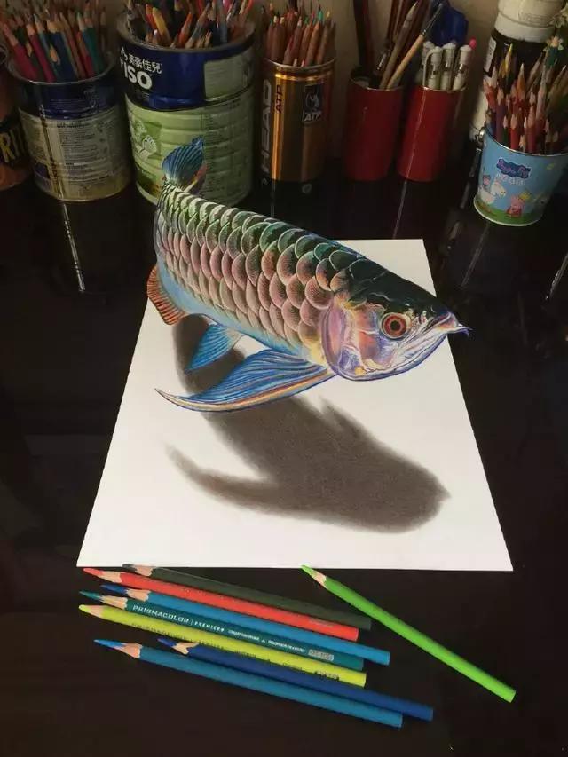 一组3D立体画绘画过程图