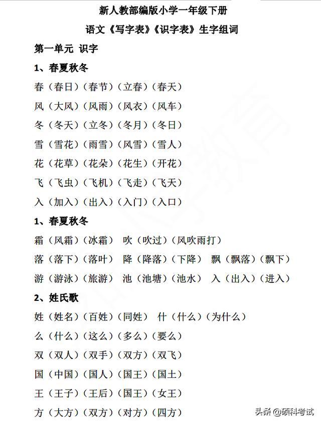 一年级语文上册生字表
