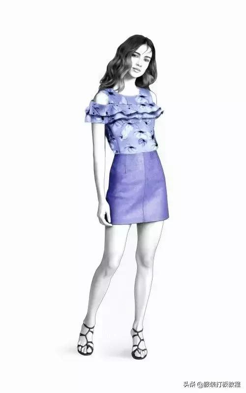 8款女士夏装的效果图+款式图+UV贴图
