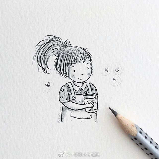 萌萌哒简笔画~可爱的小女孩铅笔手绘插画~