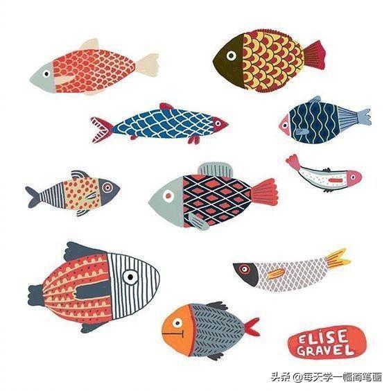 鱼简笔画可爱