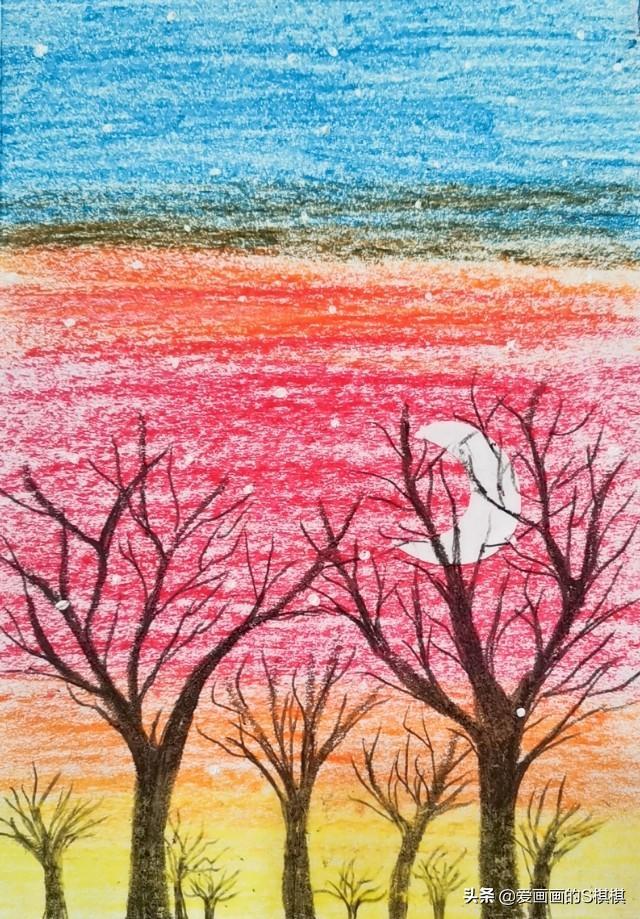 少儿油画棒风景画,儿童画画大全,少儿美术简单有步骤的蜡笔画