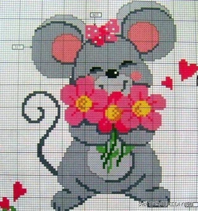 「针织图解」11款可爱的动物图案,适用于编织或者刺绣