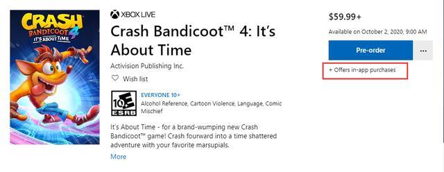 《古惑狼4》包含内购要素据外媒报道,《#古惑狼4# 》的微软商店页面显示,游戏中包含内购要素。