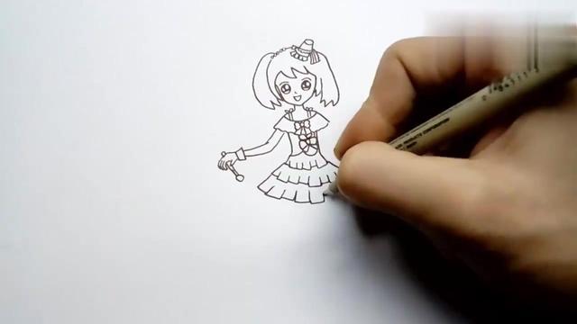 可爱漂亮小女孩简画