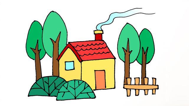 房子简笔画儿童画
