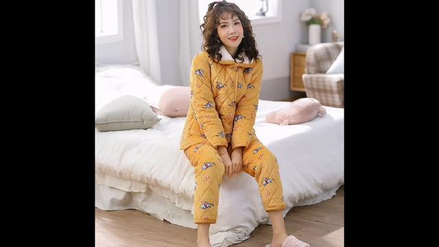 冬季新款三层夹棉加厚保暖睡衣加绒法兰绒水晶绒女士家居服