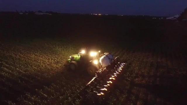 夜晚,玉米地里的除草杀虫作业
