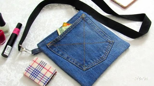 旧牛仔裤改造头花