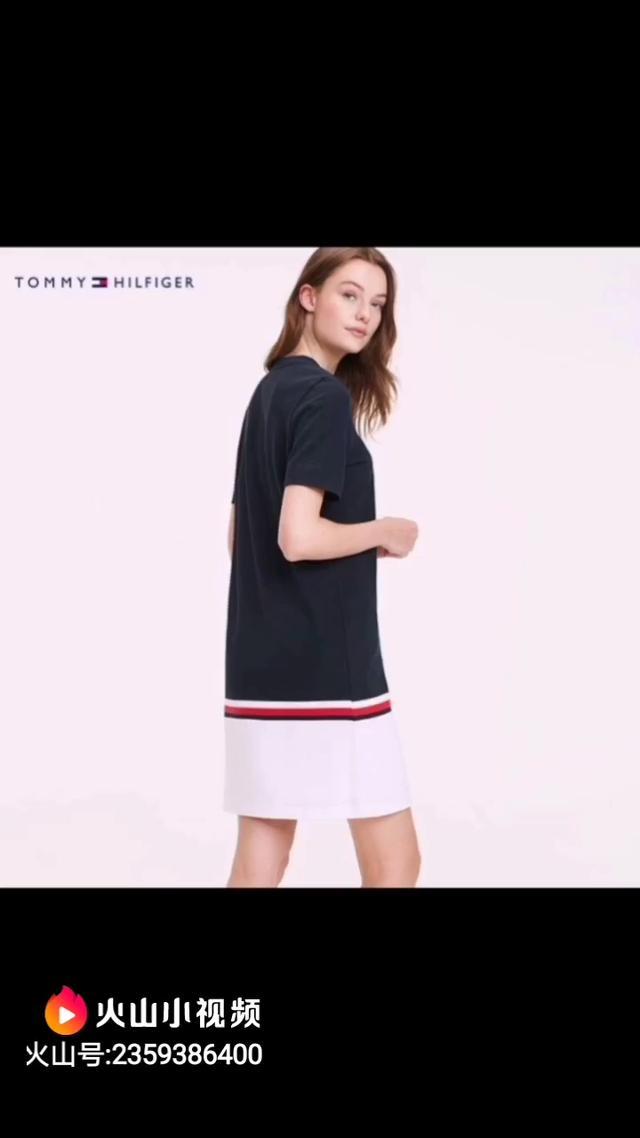 💰95 实拍图欣赏 汤米Tommy学院风彩色条纹印花收腰圆领连衣裙