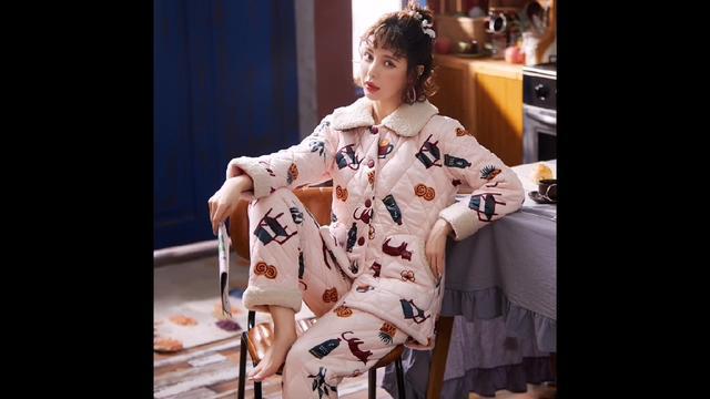 2019冬季三层夹棉睡衣加厚保暖粉色甜美韩版开衫法兰绒棉袄家居服