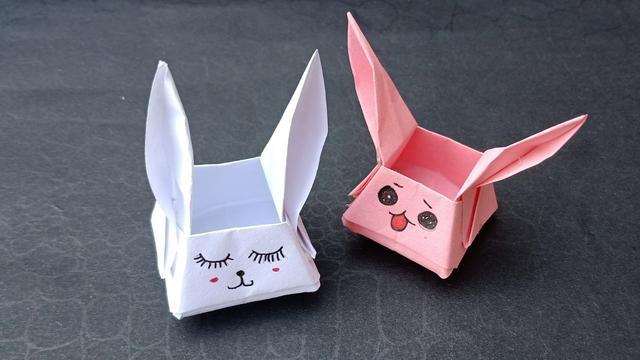 创意折纸DIY教程,教你如何折叠一个兔子收纳盒