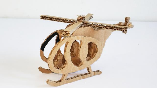 纸板玩具飞机教学,手工制作直升机飞机玩具,diy纸板制作教程