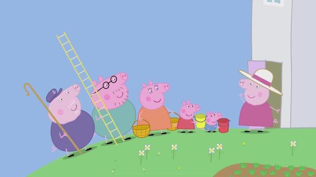 小猪佩奇:佩奇来到爷爷家,爷爷带了许多工具,他们要去摘果子