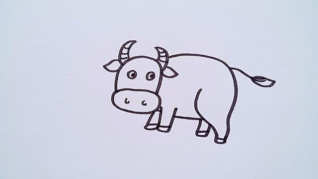 牛简笔画喜庆