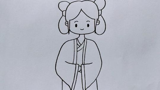 简单易学的古风女孩简笔画教程