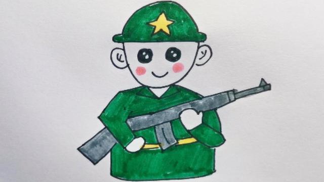 勤劳勇敢的解放军叔叔简笔画,简单易学,赶快来看~~