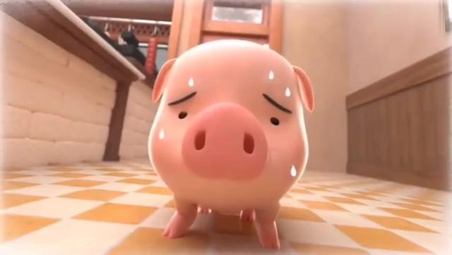 又萌又搞笑的动画短片,在肉食店生活的宠物猪,好可爱