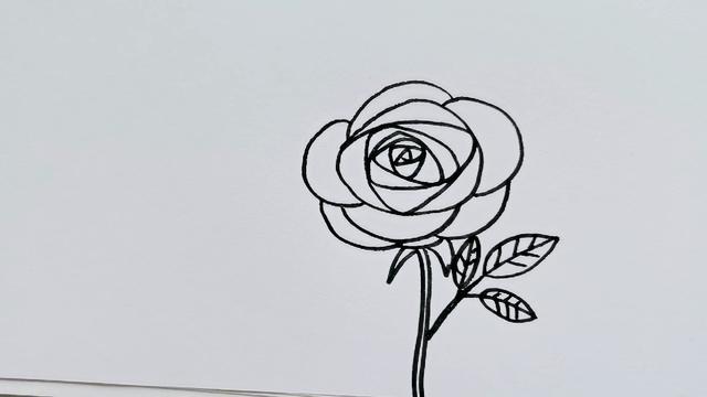 简笔画:美丽的玫瑰花画法,简单又漂亮,关键孩子学得好又实用