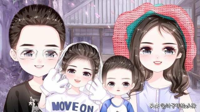 手绘幸福的一家四口插画设计图片设计图__卡... _昵图网nipic.com