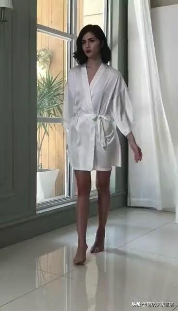 夏季性感吊带仿真丝长袖家居睡衣套装
