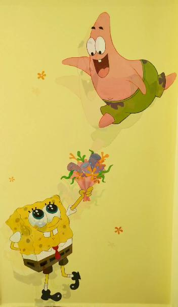 个性定制海绵宝宝装饰画儿童卧室组合画创意卡通环... _阿里巴巴