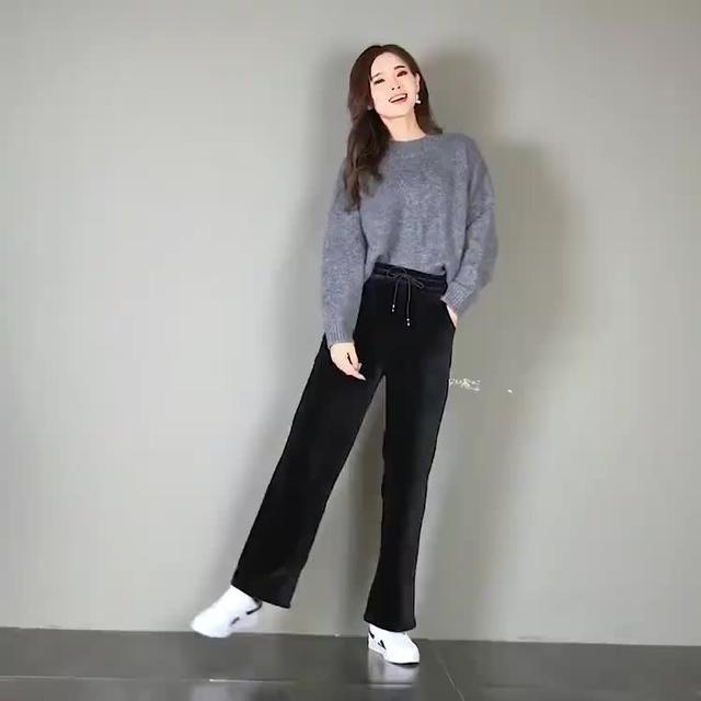 格子阔腿裤女夏季新款高腰宽松休闲长裤大码松紧腰垂感宽腿裤