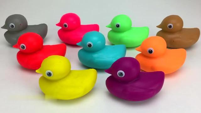 解压益智手工,教你用橡皮泥捏出九个颜色的小鸭子