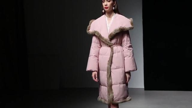 冬装女2018新款加厚羽绒棉服女拼接皮草毛边大翻领显瘦中长款外套