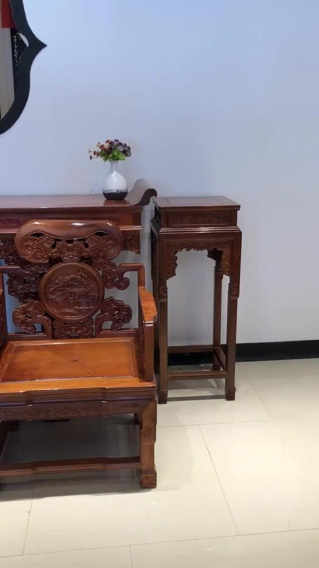 大红酸枝中堂六件套 古典红木家具中堂手工雕刻的哦