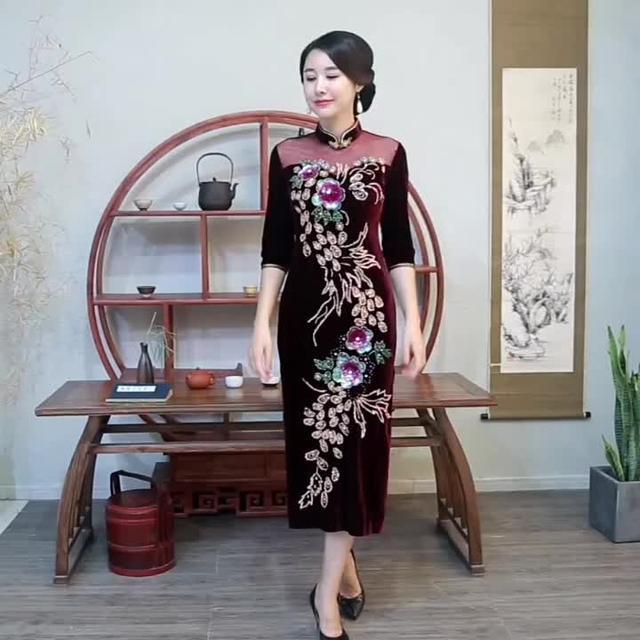 金丝绒旗袍短袖长款