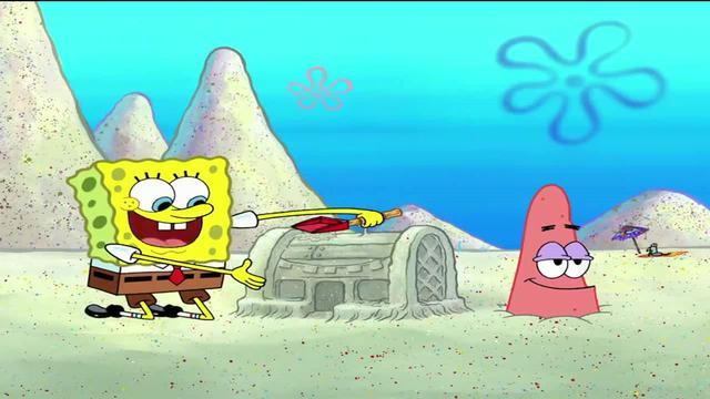 海绵宝宝家都是沙子,能不绊倒脚嘛,哎呀妈看着都疼!