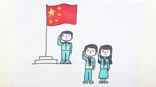 小学生升旗仪式简笔画图片 - 学院 - 摸鱼网 - Σ(っ °Д °...