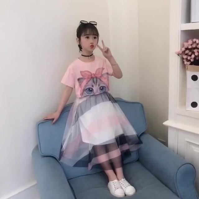 女童夏季套装2018新款两件套女孩洋气短袖套装学生时尚儿童衣