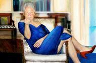 爱泼斯坦豪宅挂怪画,克林顿穿蓝裙和红色高跟鞋,映射莱温斯基?