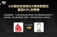 KPL:官宣!AG超玩会收购BA席位,重回KPL秋季赛