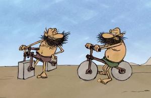 疯狂原始人动画:原始人发明自行车,不过这个自行车有点奇怪