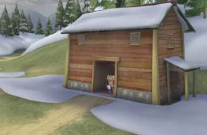 熊出没:天上飘着雪花,熊大熊二走到光头强家,偷窥强哥