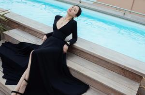 马思纯戛纳行终于不走清新风,两套深V裙优雅满分,高级感太明显