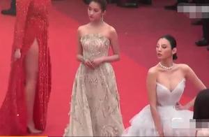 戛纳直拍!关晓彤古典仪态似国民公主,奚梦瑶用力过猛像蹭毯网红