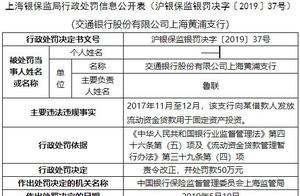 交通银行黄浦支行违法遭罚 贷款被用于固定资产投资