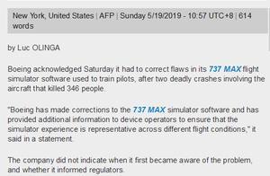 法新社:波音公司首次承认737MAX飞行模拟器软件存缺陷