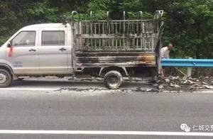 """惊险!高速路上小货车发生""""自燃"""" 一车茶叶化为灰烬"""