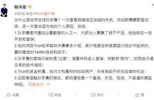 """陈伟星支持孙宇晨:他不装逼,营销只是过度,鲜有""""欺诈"""""""