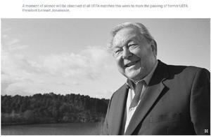 """前欧足联主席约翰松去世 被称为""""欧冠联赛之父"""""""