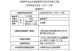 违规办理银行承兑汇票开票及贴现业务 云南富滇银行被罚20万