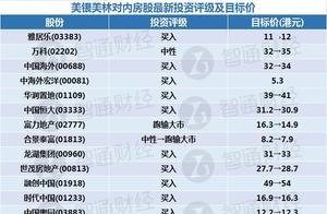美银美林:看好大中型内房股 行业首选润地(01109)及中海外(00688)等四股
