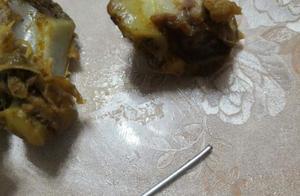 庆幸没有直接吞下!红烧排骨中有异物,竟是4厘米长的金属针头