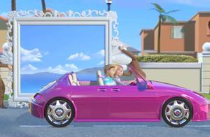 芭比之梦想豪宅:芭比开车真疯狂,油门一踩到底,根本不管刹车